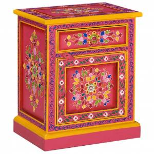 vidaXL Bedside Cabinet Solid Mango Wood Pink Hand Painted
