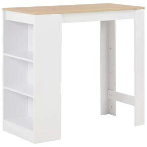 vidaXL Bar Table with Shelf White 110x50x103 cm