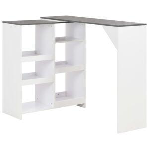 vidaXL Bar Table with Moveable Shelf White 138x40x120 cm