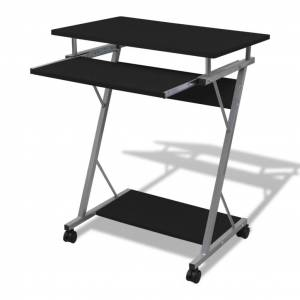 vidaXL Compact Computer Desk with Pull-out Keyboard Tray Black