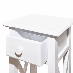 vidaXL Side Table with Drawer White
