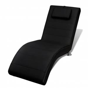 vidaXL Chaise Longue with Pillow Black Faux Leather