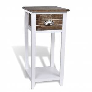 vidaXL Nightstand with 1 Drawer Brown and White