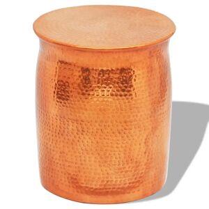 vidaXL Hammered Aluminium Stool/Side Table Brass/Copper Colour