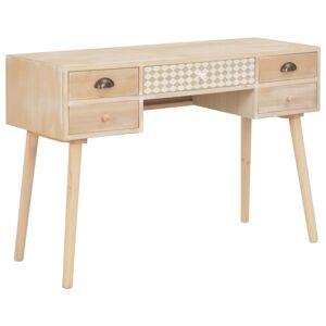 vidaXL Desk with 5 Drawers 114x40x75.5 cm Solid Pinewood