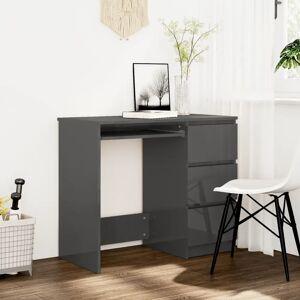 vidaXL Desk High Gloss Grey 90x45x76 cm Chipboard