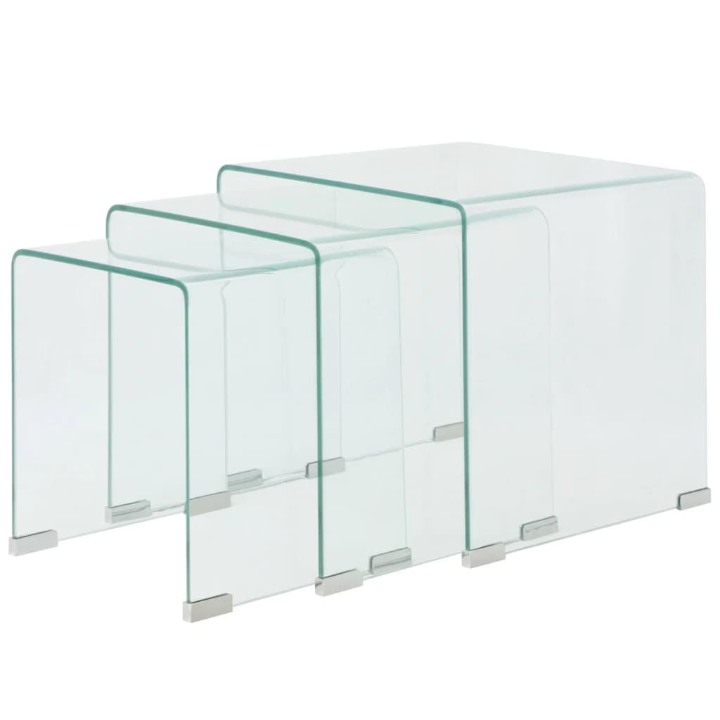 vidaXL Three Piece Nesting Table Set Tempered Glass Clear