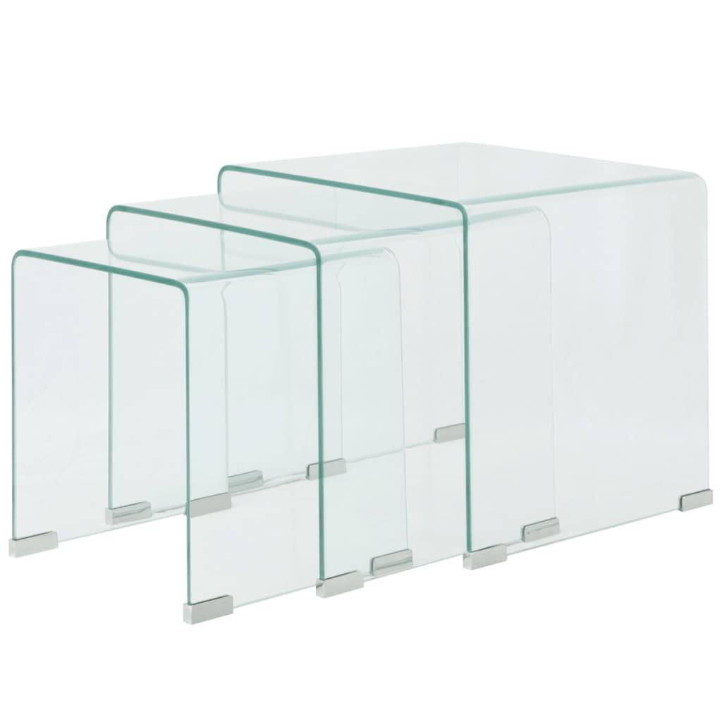 vidaXL Three Piece Nesting Table Set Tempered Glass Clear