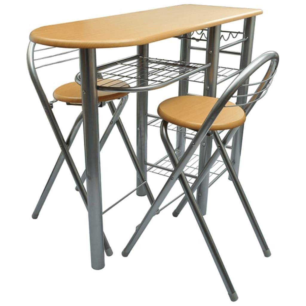 vidaXL Kitchen / Breakfast Bar / Table and Chairs Set Wood