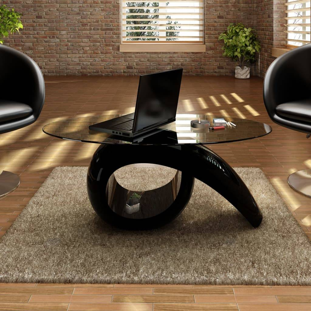 vidaXL Coffee Table with Oval Glass Top High Gloss Black