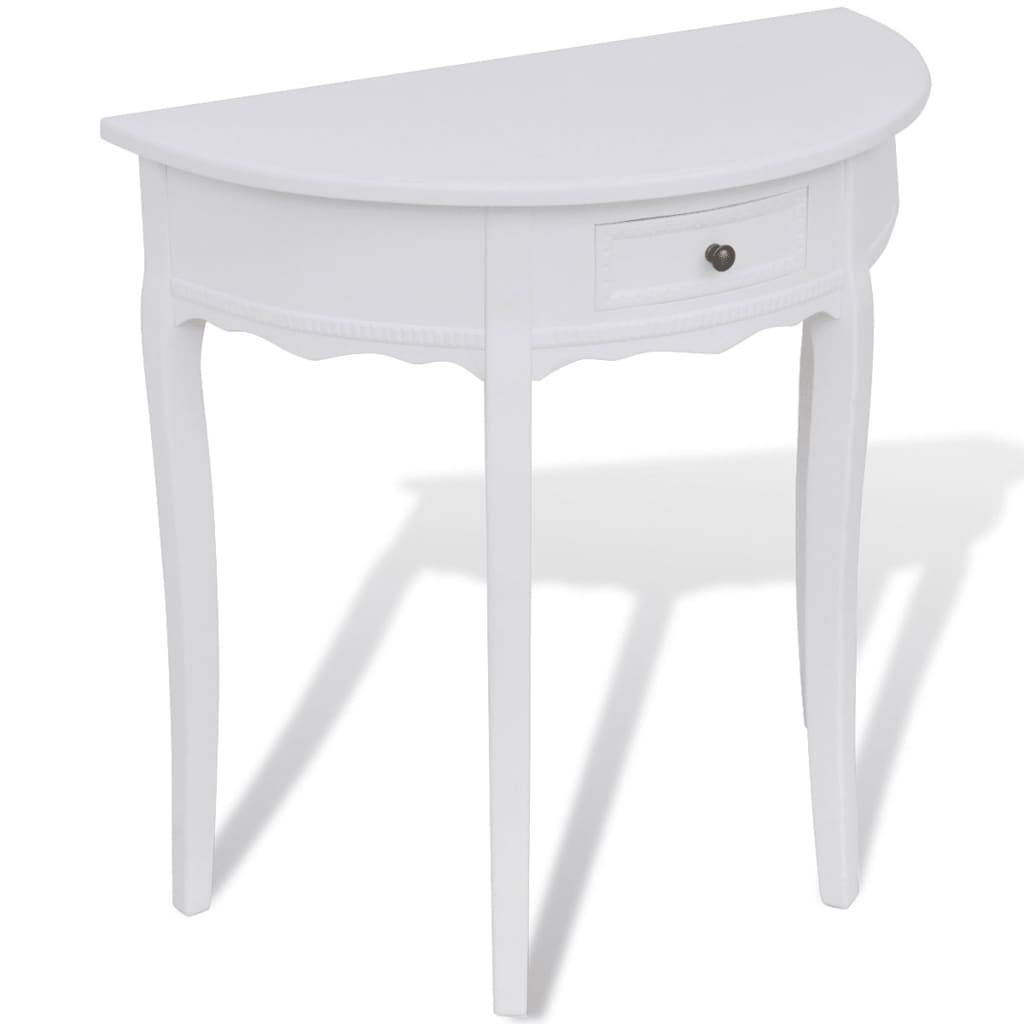 vidaXL Console Table with Drawer Half-round White