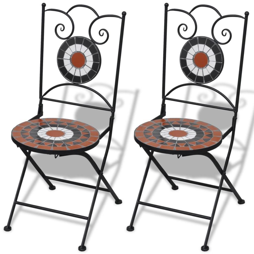 vidaXL Folding Bistro Chairs 2 pcs Ceramic Terracotta and White