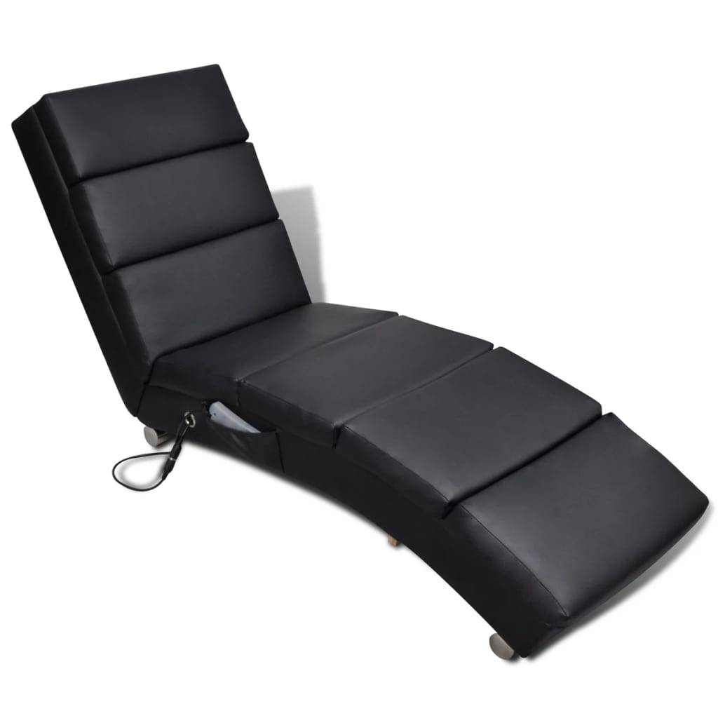vidaXL Black Artificial Leather Electric Massage Chair