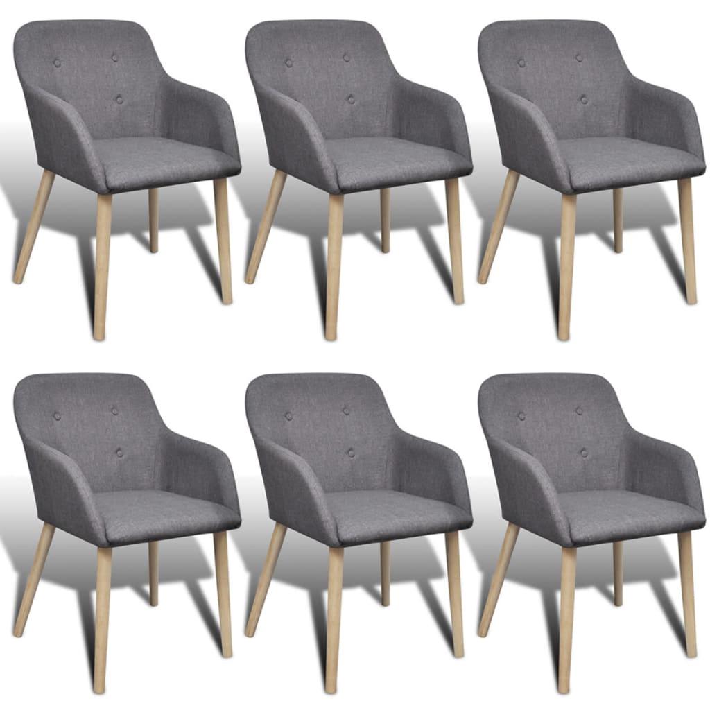 vidaXL Dining Chairs 6 pcs with Oak Frame Fabric