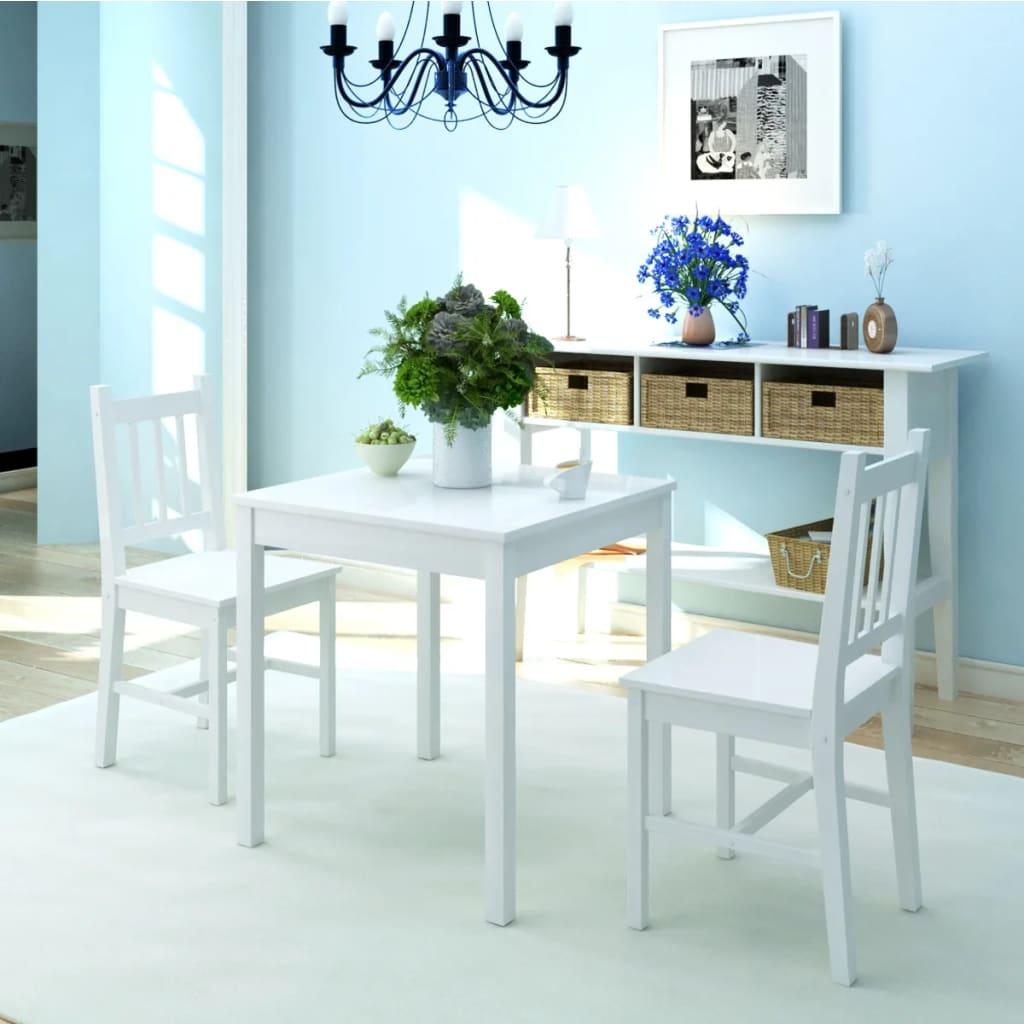 vidaXL Three Piece Dining Set Pinewood White
