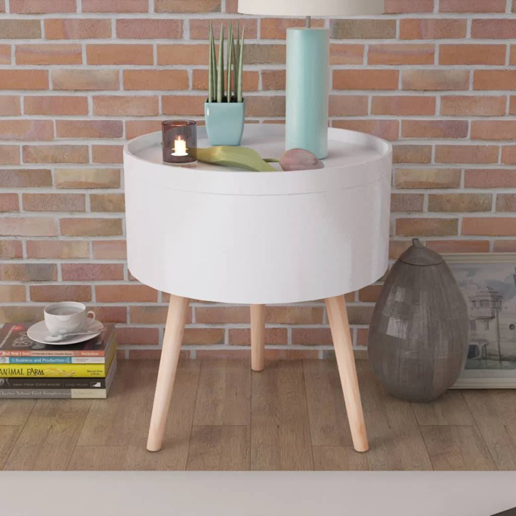 vidaXL Side Table with Serving Tray Round 39.5x44.5 cm White