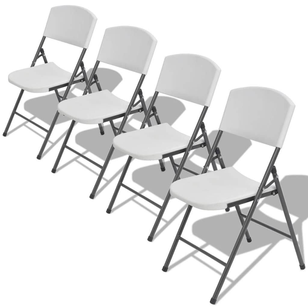 vidaXL Folding Garden Chairs 4 pcs Steel and HDPE White