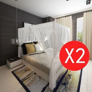 vidaXL Mosquito Net Bed Net Set Square 3 Openings 2 pcs