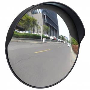 vidaXL Convex Traffic Mirror PC Plastic Black 30 cm Outdoor