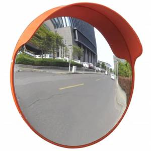 vidaXL Convex Traffic Mirror PC Plastic Orange 45 cm Outdoor