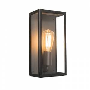 QAZQA Industrial rectangular exterior wall lamp black with glass IP44 - Rotterdam