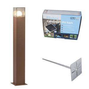 QAZQA Outdoor Pole 70cm Rust-Brown with Ground Pin and Cable Sleeve - Denmark