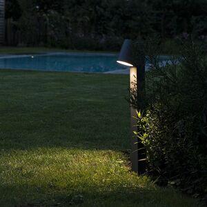 QAZQA Modern Outdoor Pole Dark Grey 62cm incl. LED - Uma