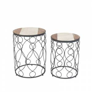 QAZQA Set of 2 Side Tables Marm Concrete with Wood Effect Marble Top