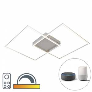 Paul Neuhaus Modern Square Ceiling Lamp Steel with Remote Control and Smart Home App incl. LED - Plazas 2