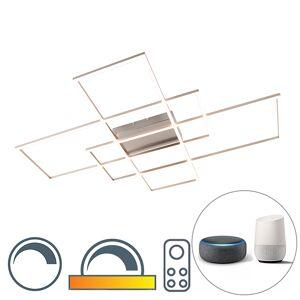 Paul Neuhaus Modern ceiling lamp steel dimmable incl. LED - Plazas 3