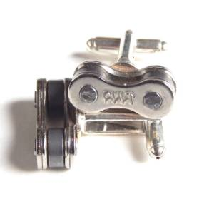 Recycle and Bicycle Recycled Bike Chain Cufflinks - One Size Silver