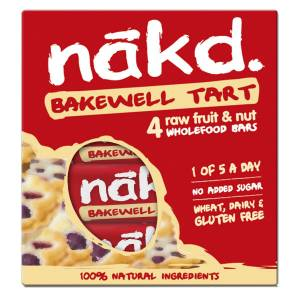 nakd. Fruit and Nut Bars  (4 x 35g) - 4 Pack Bakewell Tart   Bars