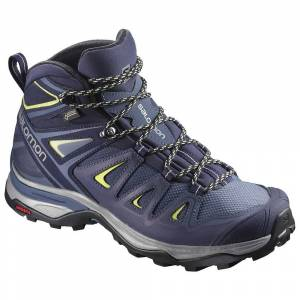Salomon Women's X Ultra 3 Mid (Gore-Tex) Boots Crown Blue/Evening B/Snny Lime