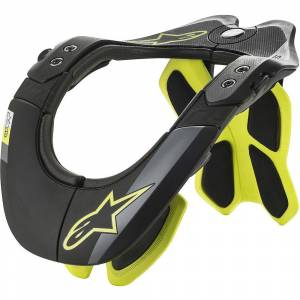 Alpinestars BNS Tech 2 Neck Brace SS19  - Size: S/M - Gender: Unisex - Color: Black/Yellow Fluo