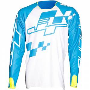 JT Racing Checked Jersey AW17  - Size: XL - Gender: Unisex - Color: Cyan/White/N.Yellow