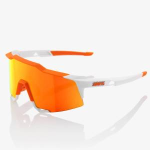 100% Speedcraft Sunglasses with HiPER Mirror Lens - Soft Tact Day Glo Orange/White/Red Lens