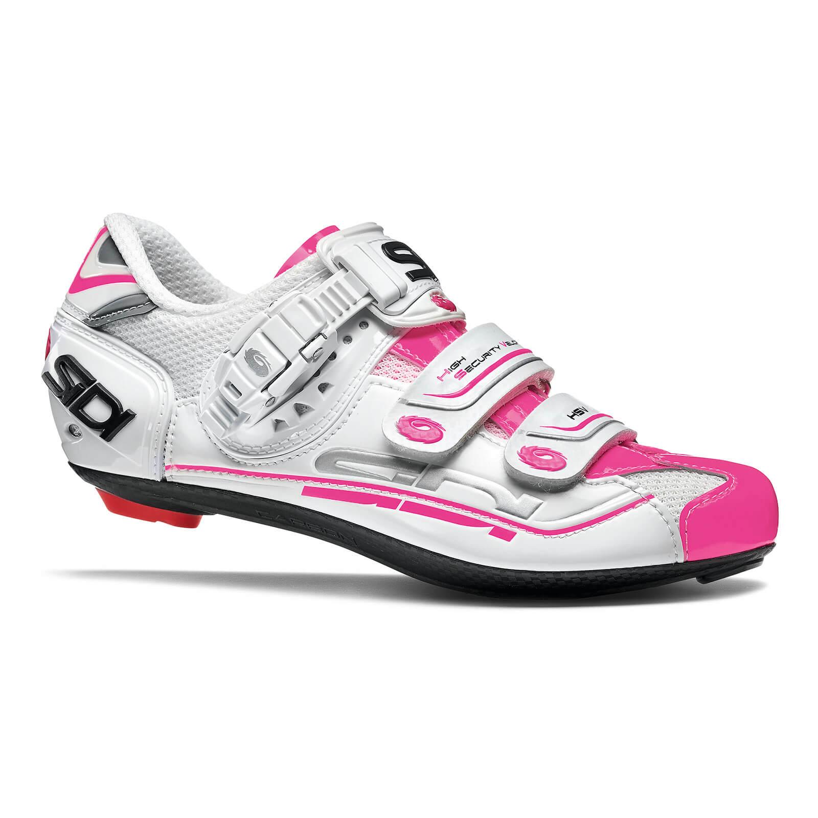 Sidi Women's Genius 7 Road Shoes - White/White/Pink Fluo - EU 38 - White/White/Pink Fluo