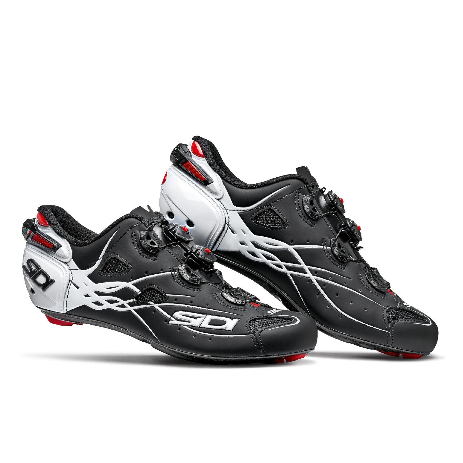Sidi Shot Carbon Road Shoes - Matt Black/Gloss White - EU 46 - Matt Black/Gloss White