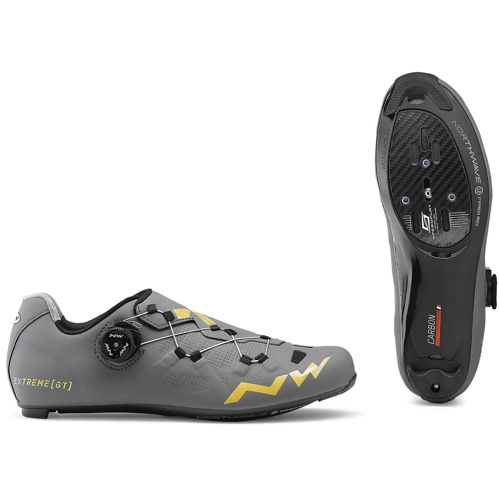 Northwave Extreme GT Road Shoes - Anthracite/Gold - EU 41/UK 7.5/US 8.5 - Grey/Gold