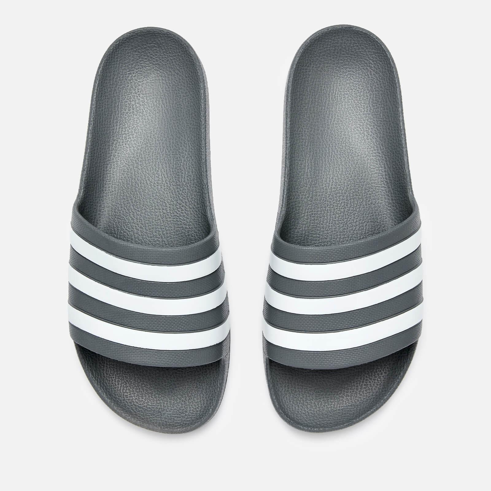 adidas Men's Adilette Aqua Slide Sandals - Grey Three - UK 10 - Grey