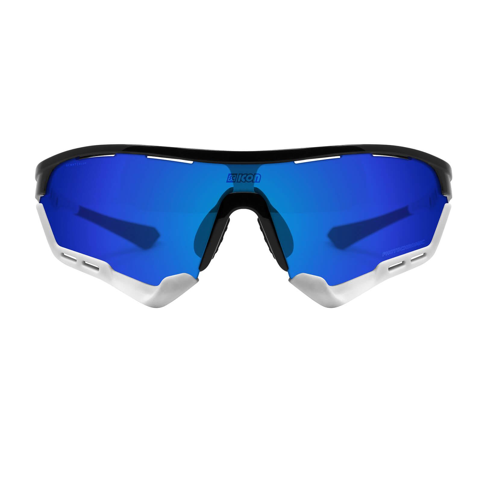 Scicon Aerotech Sunglasses SCN-XT Photochromic Blue Mirror Lens - Black Gloss Frame - XL Lens