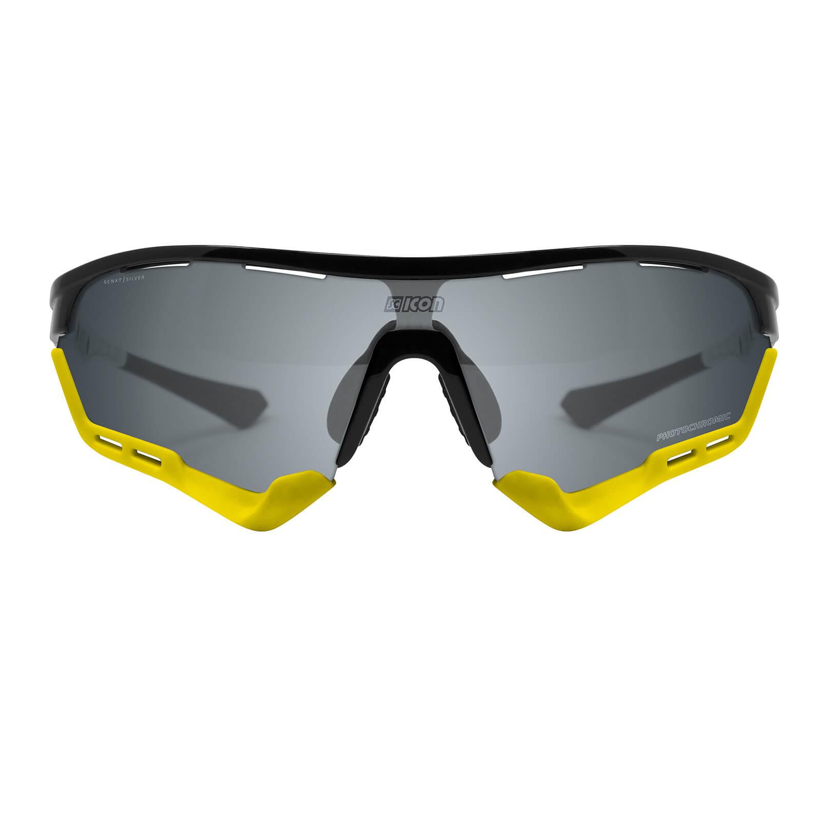 Scicon Aerotech Sunglasses SCN-XT Photochromic Silver Mirror Lens - Black Gloss Frame - Standard Lens