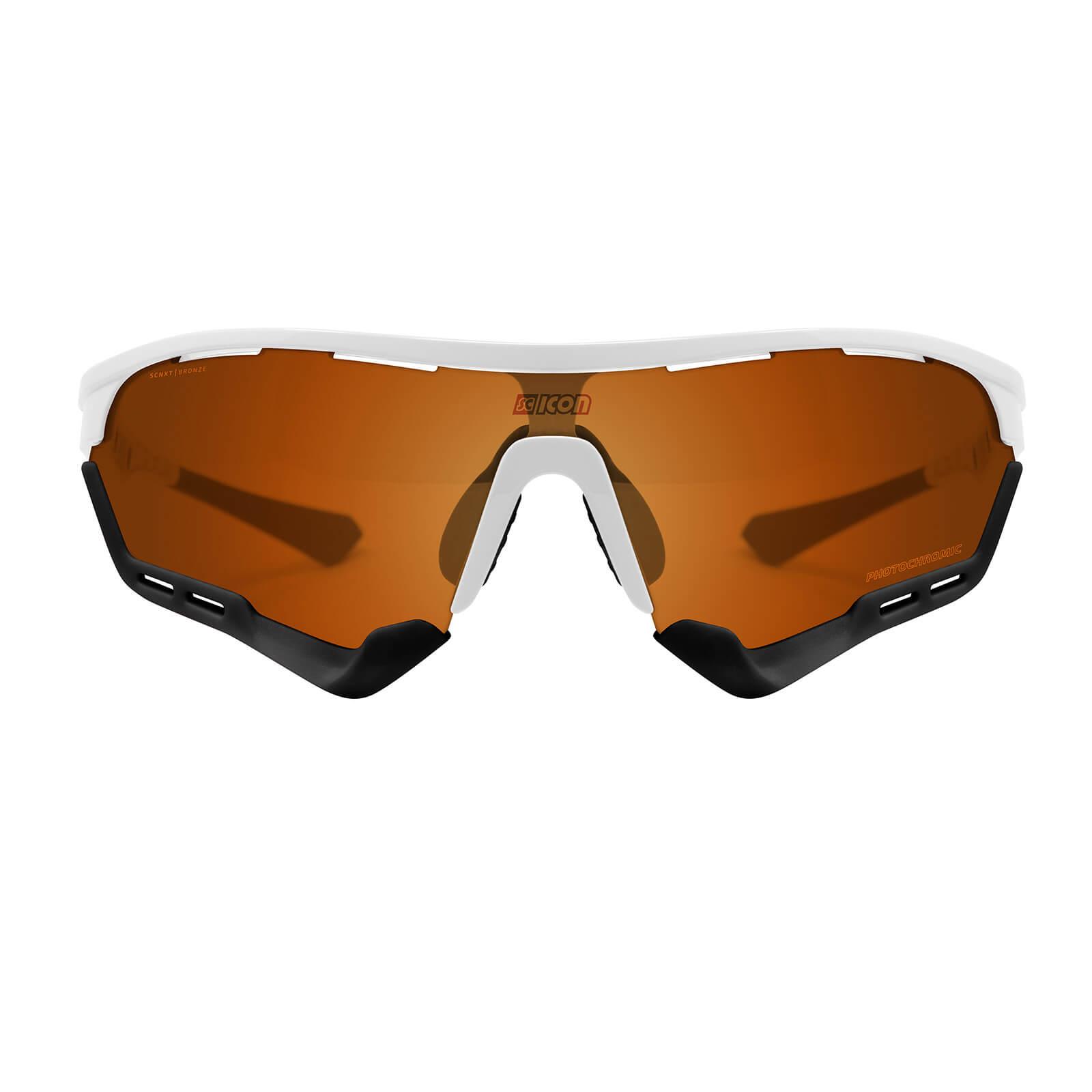 Scicon Aerotech Sunglasses SCN-XT Photochromic Bronze Mirror Lens - White Gloss Frame - XL Lens