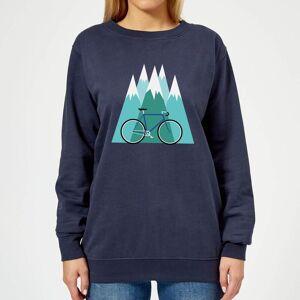 Broom Wagon Bike and Mountains Women's Christmas Sweatshirt - Navy - XL - Navy
