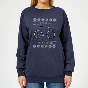 Broom Wagon Ride Now, Turkey Later Women's Christmas Sweatshirt - Navy - XS - Navy