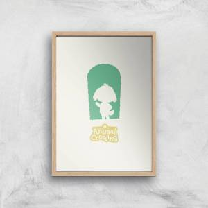 Nintendo Animal Crossing Green Door Art Print - A3 - Wooden Frame