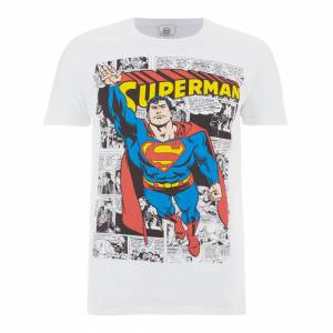 Geek Clothing DC Comics Men's Superman Comic Strip T-Shirt - White - L - White