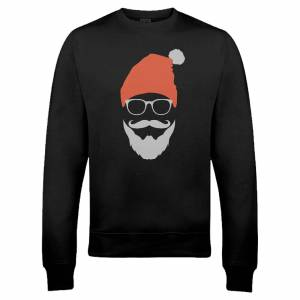 The Christmas Collection Cool Santa Christmas Sweatshirt - Black - XXL - Black