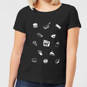 Does It Fry Pattern Women's T-Shirt - Black - L - Black