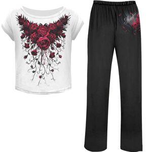 Spiral Women's BLOOD ROSE 4 Piece Gothic Pyjama Set - M - Black/White